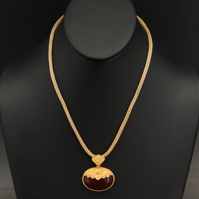 18K Carnelian Wirework and Cannetille Pendant with Mesh Chain