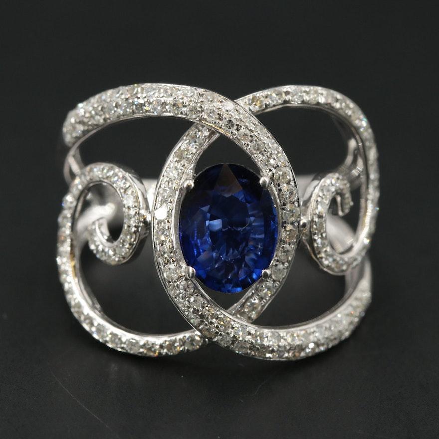EFFY 14K WHITE GOLD DIAMOND, NATURAL DIFFUSED CEYLON SAPPHIRE RING