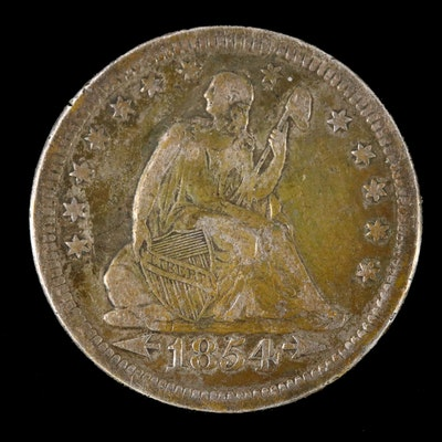 """1853 """"Arrows - No Rays"""" Seated Liberty Silver Quarter"""