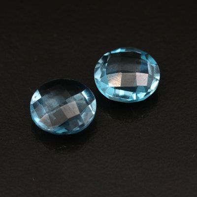 Matched Pair of Loose Round London Blue Topaz Double Cabochons