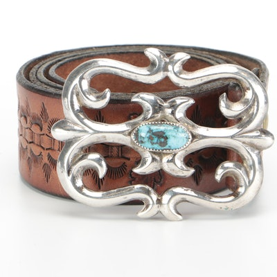 Sandcast Sterling and Turquoise Southwestern Buckle on Tooled Leather Belt