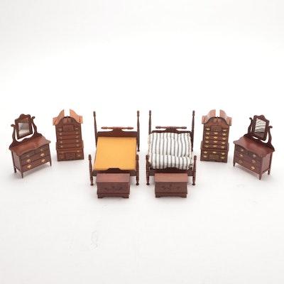 Handmade Wooden Dollhouse Queen Anne Style Furniture