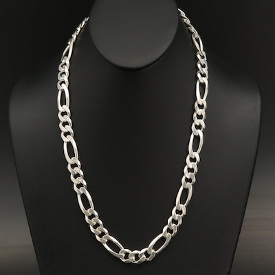 Sterling Silver Figaro Link Necklace
