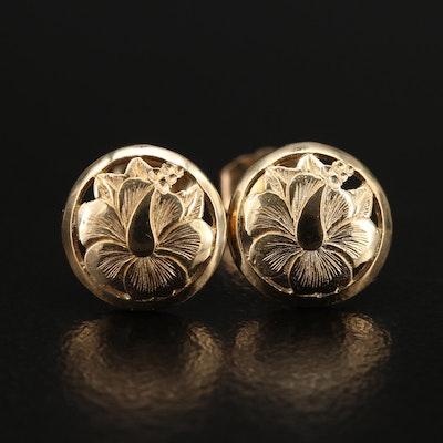 14K Etched Hibiscus Flower Stud Earrings