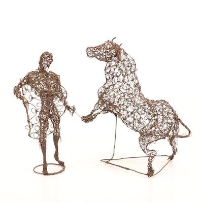 Wire Matador and Bull Sculptures