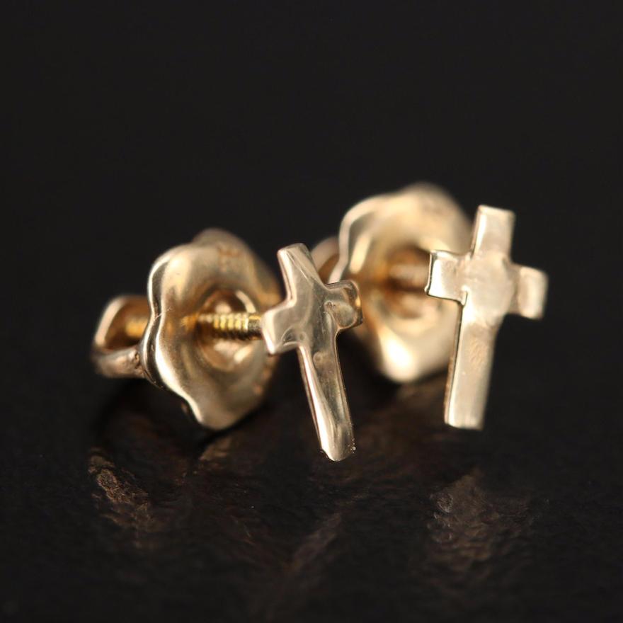 14K Cross Stud Earrings