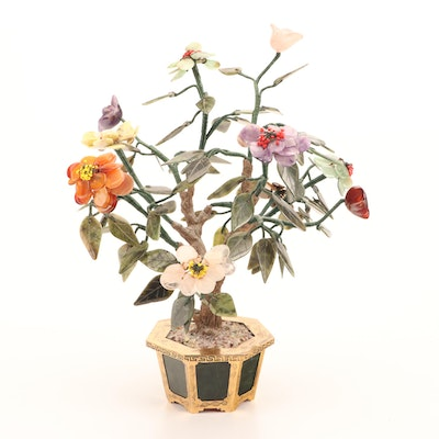 """Chinese """"Jade"""" Tree with Stone Flowers, Mid to Late 20th Century"""
