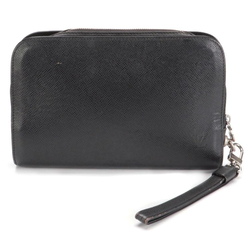 Louis Vuitton Pochette Baikal Clutch Bag in Black Taïga Leather