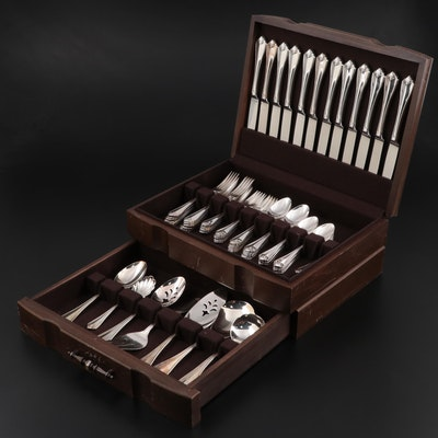 """1881 Rogers by Oneida """"King James"""" Silver Plate Flatware in Chest, 1980s"""