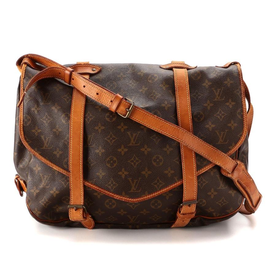 Louis Vuitton Saumur 43 Messenger Bag in Monogram Canvas and Vachetta Leather