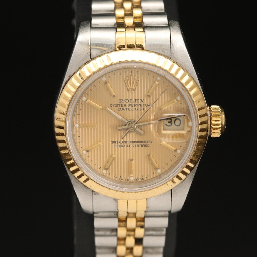 1988 Rolex Datejust Model 69173 Stainless Steel and 18K Gold Wristwatch