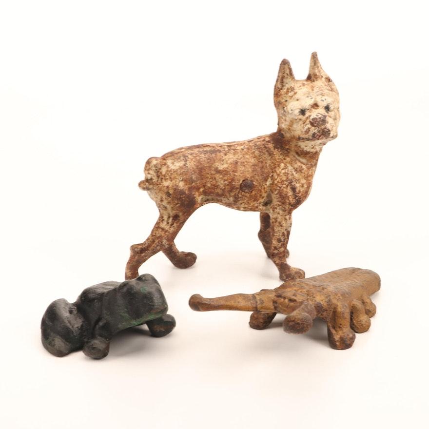 Cast Iron Terrier Doorstop, Beetle Bootjack and Frog Figurine, 20th C.