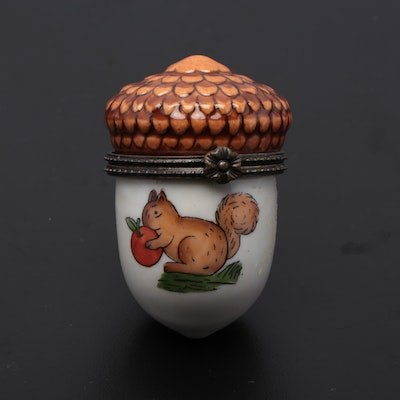 Hand-painted Figural Acorn Porcelain Box with Squirrel Design