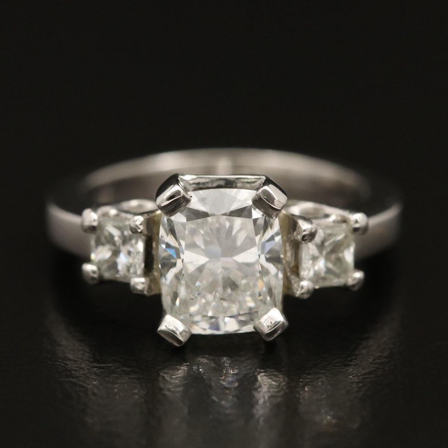 Platinum 2.16 CTW Diamond Three Stone Ring with IGI Report