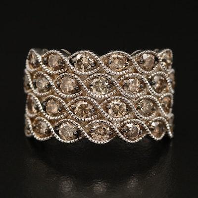 Sterling 2.08 CTW Diamond Multi-Row Ring