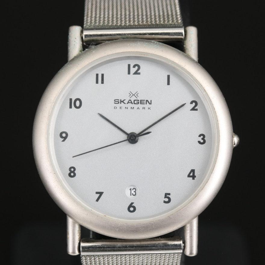 Skagen Denmark Stainless Steel Quartz Wristwatch with Date