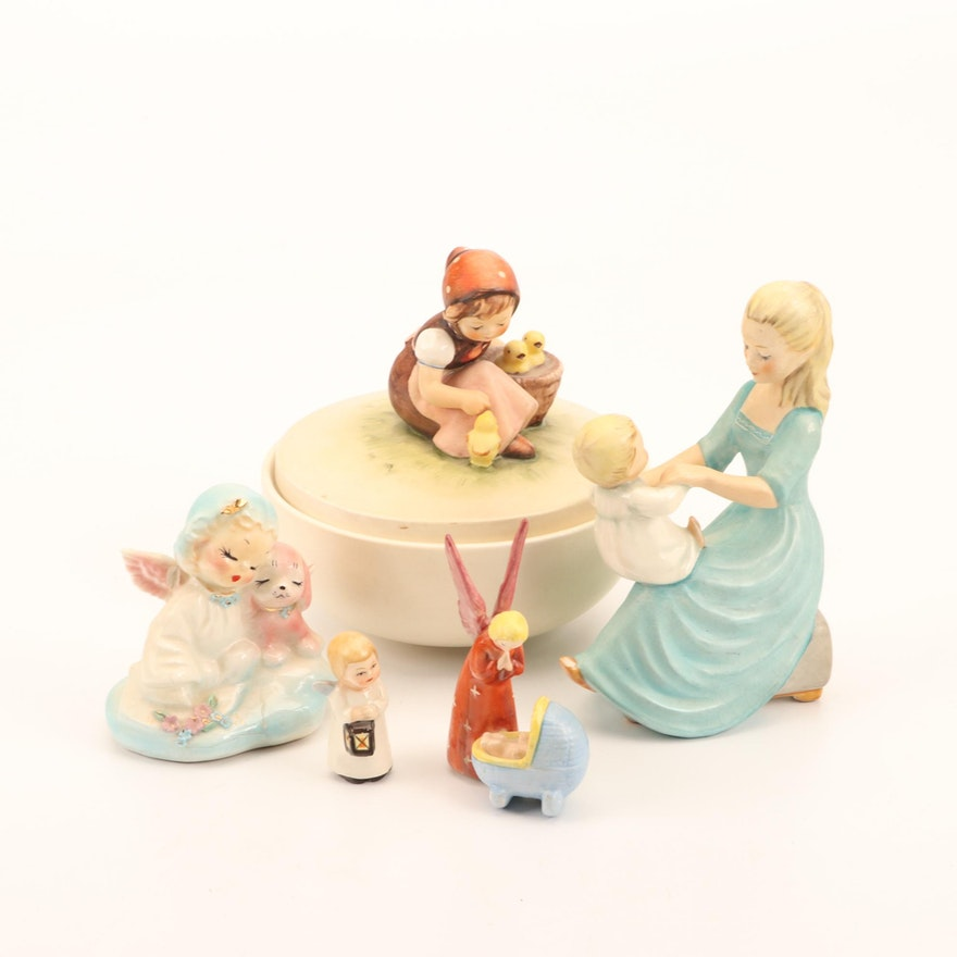 Goebel Porcelain Lidded Bowl; Small Nativity Figures, Woman with Child, Others