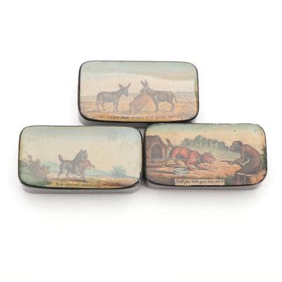 Rectangular Papier-Mâché Pocket Snuff Boxes, 19th Century