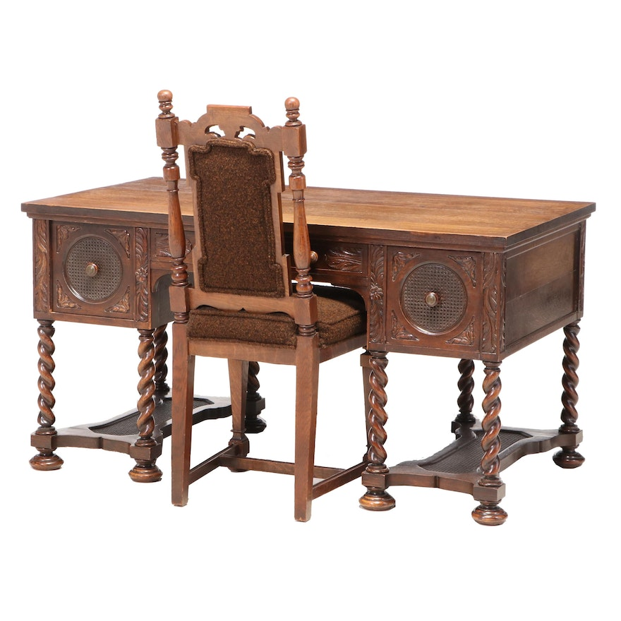 Quartersawn Oak, Caned, and Barley Twist Desk and Side Chair, Early 20th Century