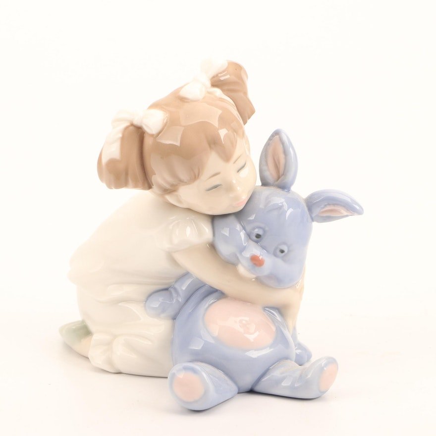 NAO for Lladró Porcelain Girl and Stuffed Rabbit Figurine