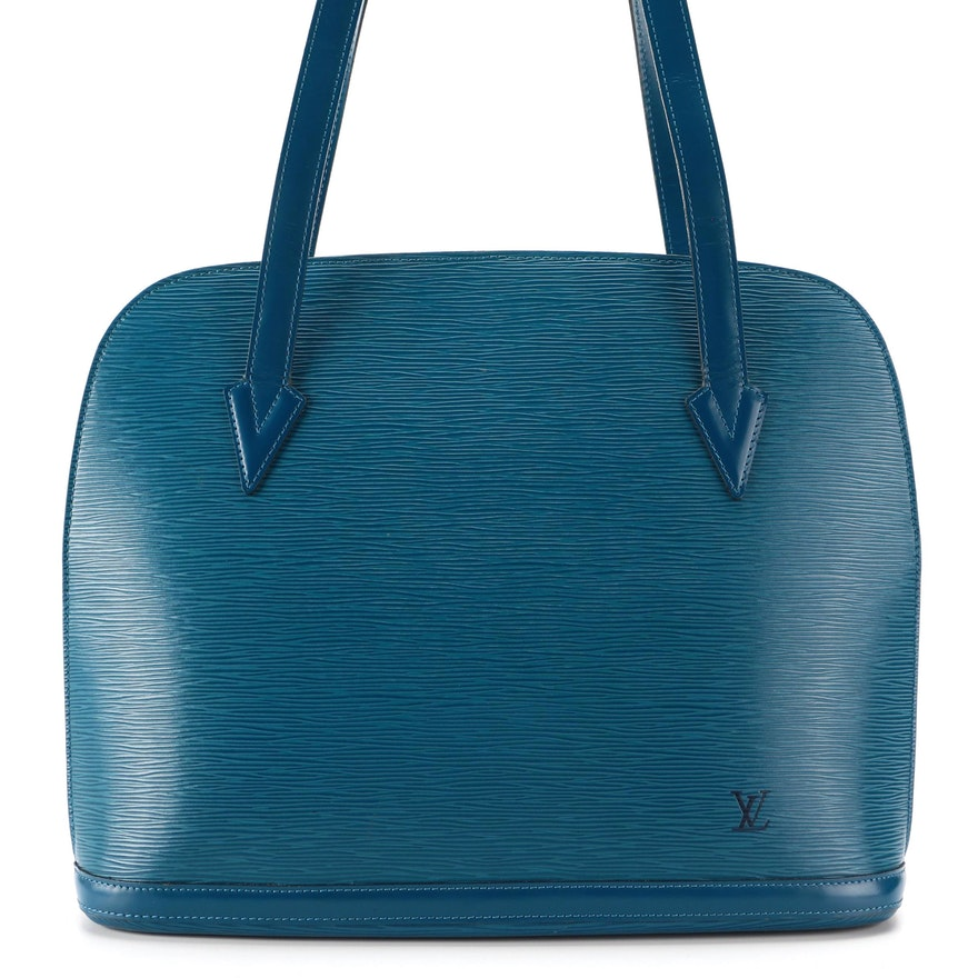 Louis Vuitton Lussac Shoulder Bag in Toledo Blue Epi and Smooth Leather