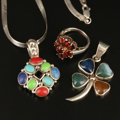 Sterling Ring, Pendants and Herringbone Necklace Including Garnet and Agate