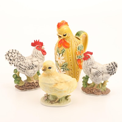 Lefton China Hand-Painted Chicken & Rooster Kitchen Containers and Figurines