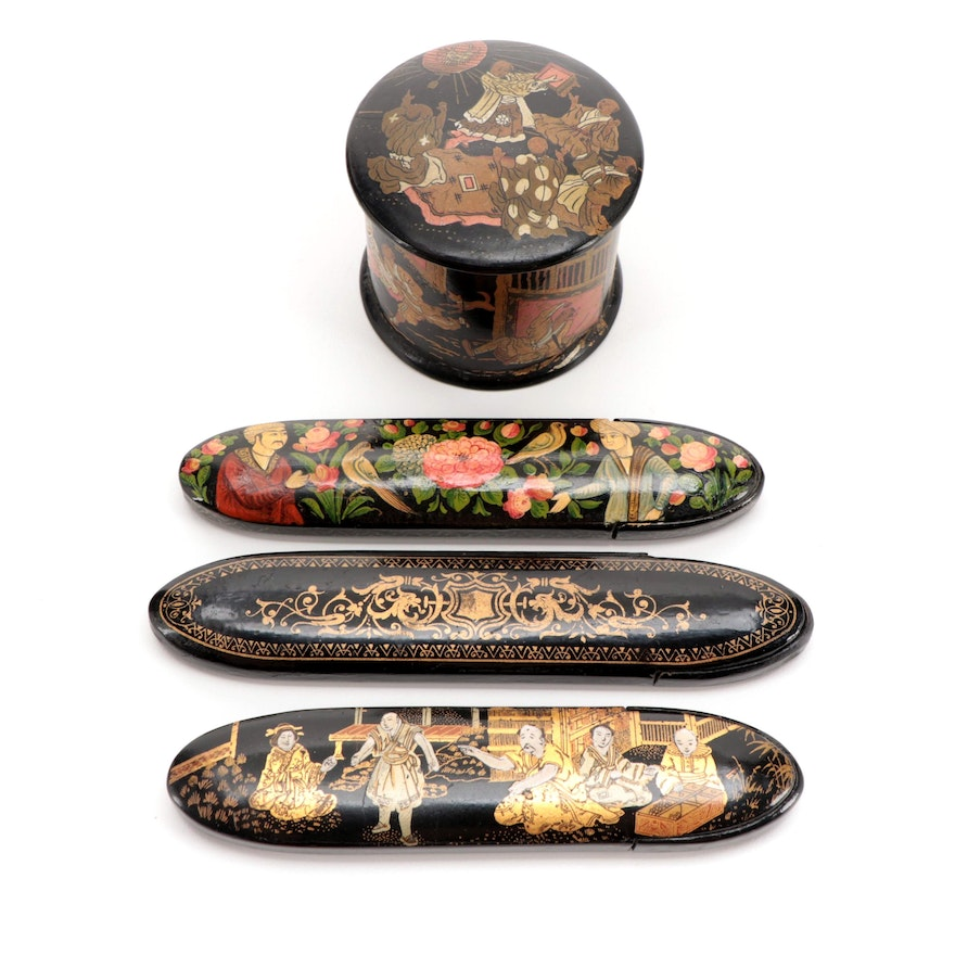 Victorian Lacquer Ware Eyeglass Cases and Box, Late 19th Century