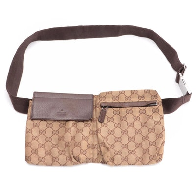 Gucci Double Belt Bag in GG Canvas and Leather Trim