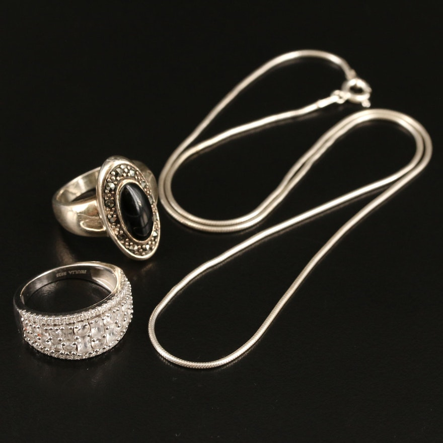 Sterling Rings and Snake Chain Necklace Including Black Onyx and Marcasite