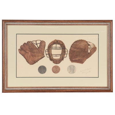 """Charles Leonard Hand-Colored Etching With Aquatint """"American Icon/Baseball"""""""