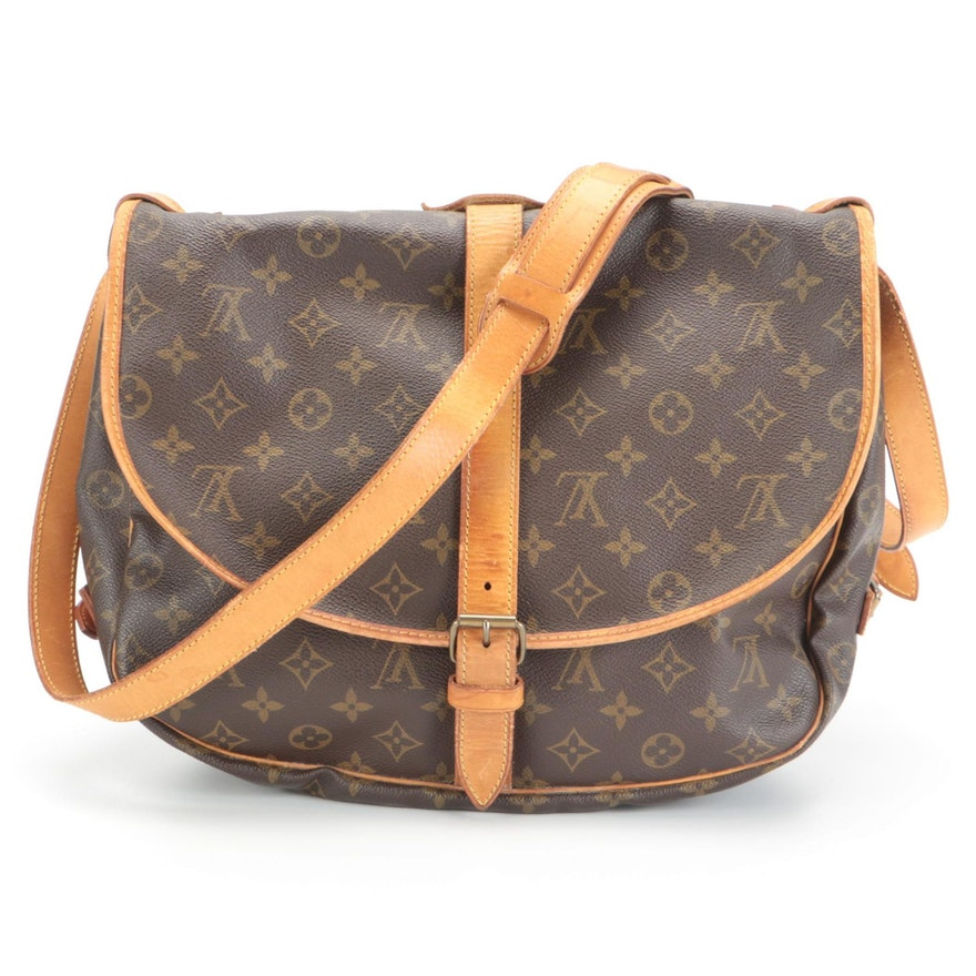 Louis Vuitton Saumur Messenger Bag in Monogram Canvas with Vachetta Leather