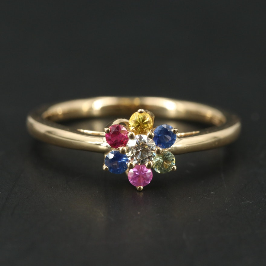14K YELLOW GOLD DIAMOND, GREEN SAPPHIRE, PINK SAPPHIRE, NATURAL RUBY, NATURAL SAPPHIRE, YELLOW SAPPHIRE RING