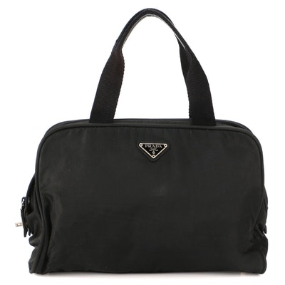 Prada Top Handle Bag in Black Tessuto Nylon with Leather Trim Handles