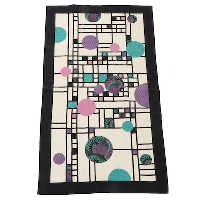 Handmade Geometric Abstract Patchwork Display Quilt, Late 20th Century