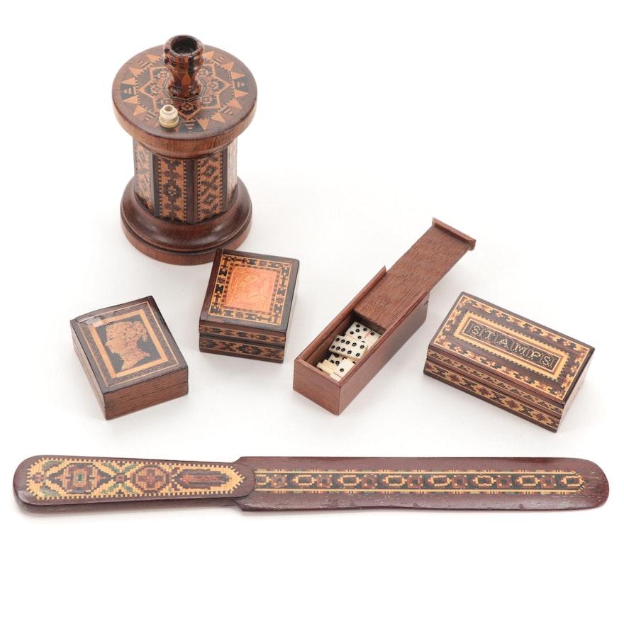 English Tunbridge Ware Desk Accessories,  Antique