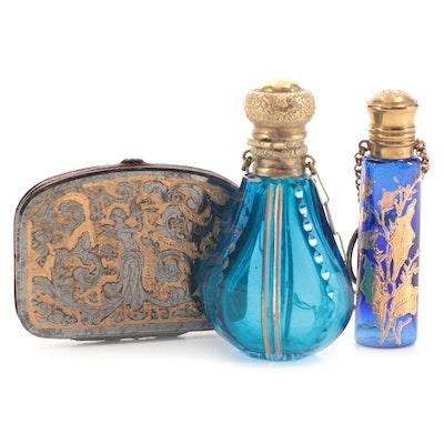 Blue Glass & Cobalt Blue Glass Chatelaine Perfume Bottles & Metal Coin Purse