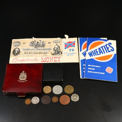 Assortment of Foreign Coins and Reproduction Confederate Currency Notes