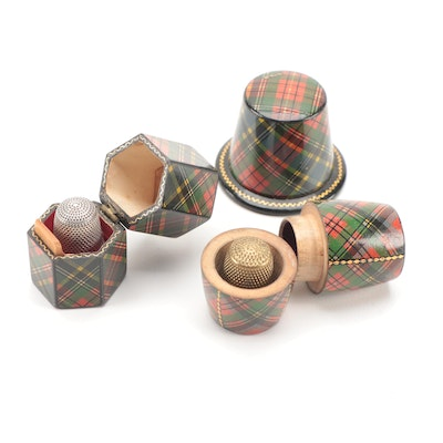 Scottish Mauchline Ware Thimble Cases with Sterling and Brass Metal Thimbles