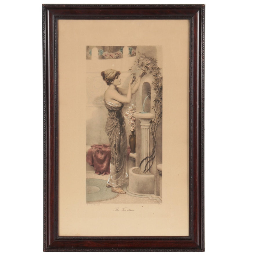 """Hand-Colored Lithograph After Norman Prescott Davies """"The Fountain"""""""