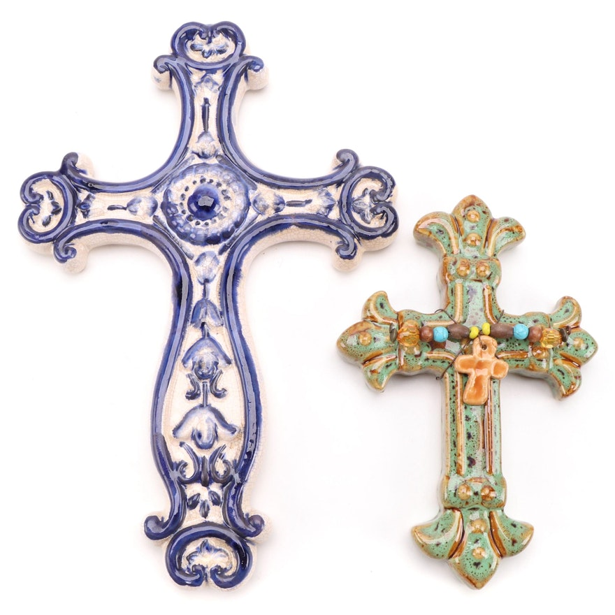 Glazed Ceramic Crosses Wall Décor