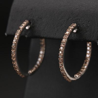 Sterling 2.00 CTW Diamond Inside-Out Hoop Earrings