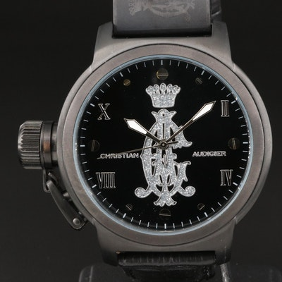 Christian Audigier Eternity Black PVD and Stainless Steel Wristwatch