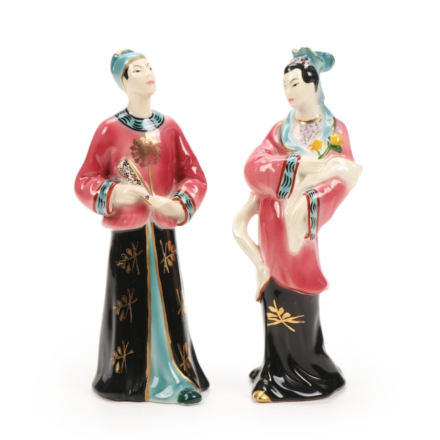 Hand-Painted Goldcrest Chinese Actor and Actress Figurines, Mid-20th Century