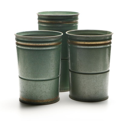 Painted Galvanized Metal Floral Buckets, Contemporary