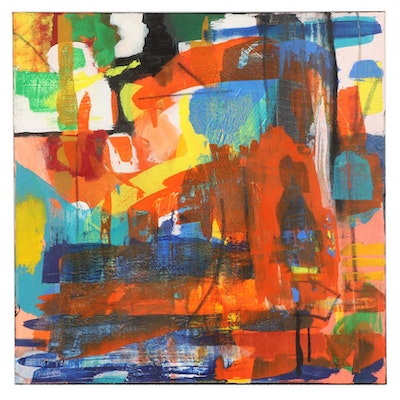 MahLeah Cochran Abstract Expressionistic Acrylic Painting, 21st Century