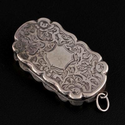 Victorian Frederick Marson English Sterling Silver Chased Vinaigrette, 1870