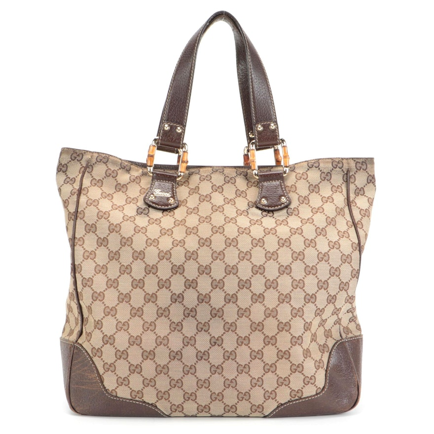 Gucci Tote in GG Canvas with Brown Leather Trim and Bamboo Accents