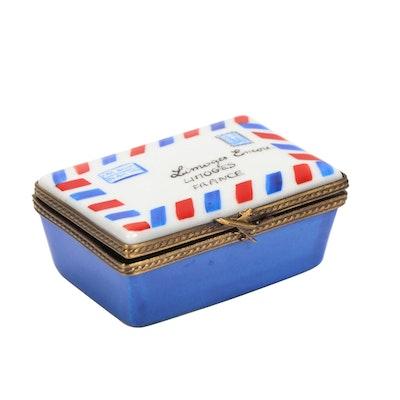 Eximious Hand-Painted Airmail Envelope Limoges Porcelain Box