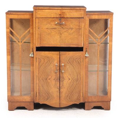 Art Deco Walnut Side-by-Side Secretary Bookcase, circa 1930